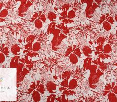 Woven fabric cotton Satin – red flowers