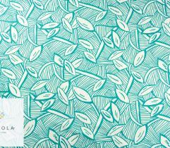 Tkanina bawełna satyna - turkusowe liście