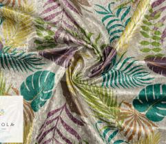 Upholstery Knitted Fabric Crushed Velour - tropical leaves