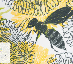 Tkanina Barbie Drukowane Pszczoły i Kwiaty