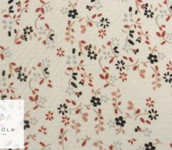 Tkanina szyfon - drobne kwiatki na ecru