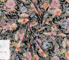 Woven fabric Satin – flowers on black