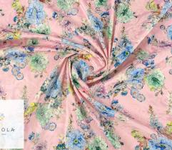 Woven fabric Satin – flowers on pink