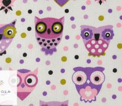 Cotton woven fabric – purple owls