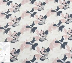 Woven Fabric Silki – navy and pink leaves