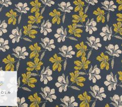 Woven Fabric Silki – yellow flowers on navy