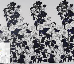 Knitted Fabric Scuba Black flowers on white – Panel