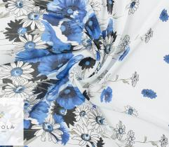 Woven fabric chiffon – blue flowers on sky blue