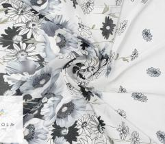 Woven fabric chiffon – gray flowers on light gray