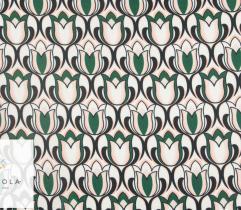 Tkanina satyna - wielobarwne tulipany