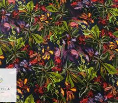 Dress Woven Farbic – tropical flowers on navy