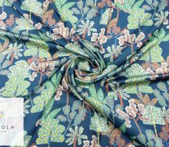 Woven Fabric Satin - tree on navy blue
