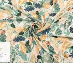 Woven Fabric Satin - leaves on ecru