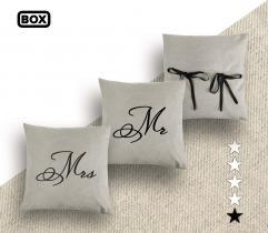 Zestaw do odszycia poszewek na poduszki - wzór Mr & Mrs