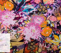 Knitted Fabric Punto di Roma – multicolor flowers