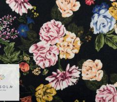 Woven Viscose Fabric – colourful flowers on black