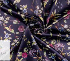 Tkanina satyna - kwiaty na grancie