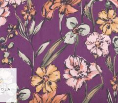 Woven Fabric Georgette - flowers on purple