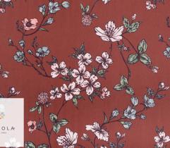 Tkanina Żorżeta - delikatne kwiaty na brązowym tle