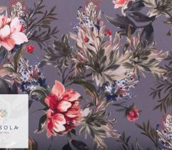 Woven Fabric Crepe – flowers on grey