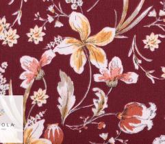 Tkanina Wiskoza - kwiaty na bordowym