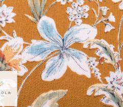Tkanina Wiskoza - kwiaty na musztardowym