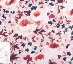 Woven Fabric bi-stretch - ecru and pink flowers on powder pink