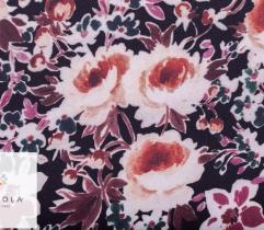 Tkanina Stretch - kwiaty w ecru i różu na czerni