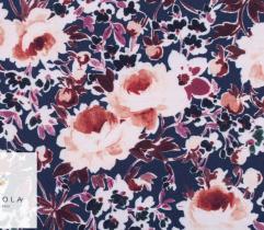 Tkanina Stretch kwiaty w ecru i różu na granacie