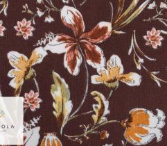 Tkanina Wiskoza - kwiaty na ciemnym brązie