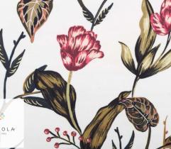 Tkanina Żorżeta - kwiaty na ecru