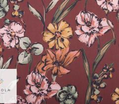 Tkanina Żorżeta - duże kwiaty na brązie