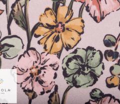 Tkanina Żorżeta - duże kwiaty na kremowym tle