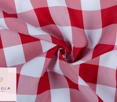 Tkanina obrusowa - krata czerwona 4 cm