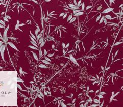 Woven Viscose Fabric - leaves and birds on burgundy