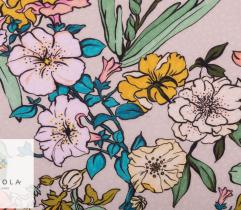 Woven Viscose Fabric - intense colouring flowers on beige