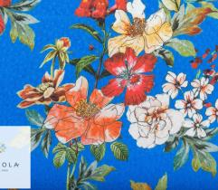 Woven Viscose Fabric – intense colouring flowers on cornflower blue