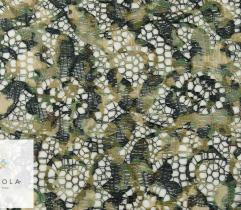 Printed lace - flowers in green