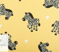 Tkanina pościelowa - zebry na żółtym