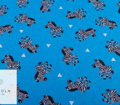 Cotton woven fabric – zebras on blue