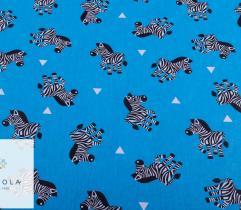 Tkanina pościelowa - zebry na niebieskim