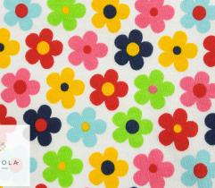 Jersey single - multi-colour flowers