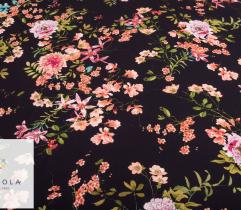 Woven Fabric Crepe Satin - flowery night