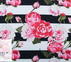 Tkanina poliestrowa - różany ogród w poziomie