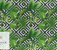 Tkanina ogrodowa - liście i czarne wzory