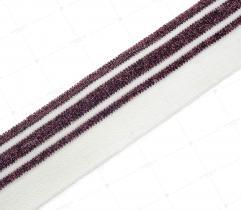 Ściągacz 4 cm - biały, fiolet, brokat