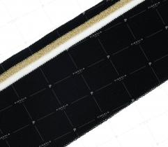 Knit rib 6 cm - black, white-golden strip