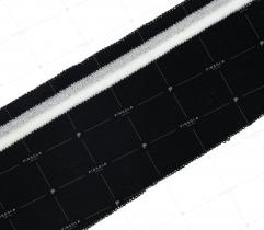 Knit rib 6 cm - black, white-silver strip