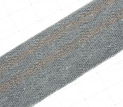 Knit rib 5 cm - grey, gold glitter