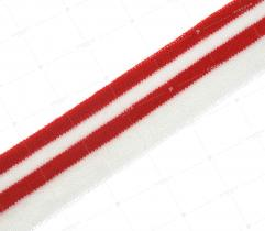 Knit rib 3 cm - white, red